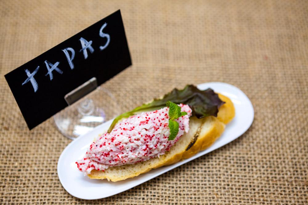Spanish tapas with crab tartare