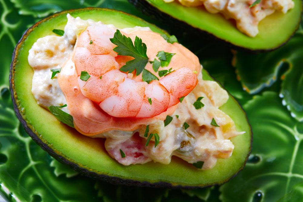 Avocado with shrimps tapas