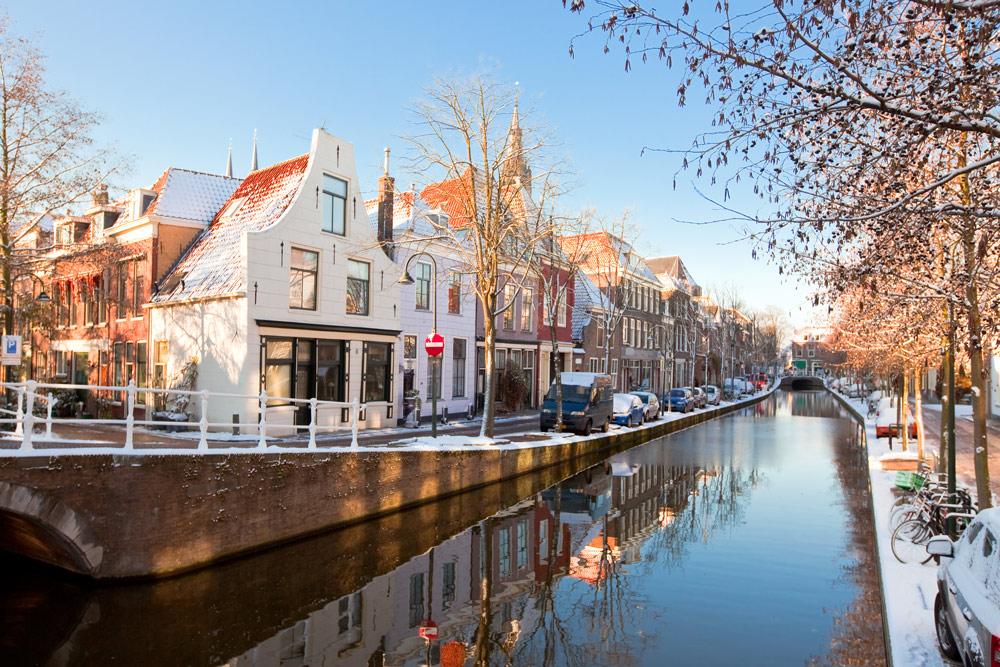Delft city in winter