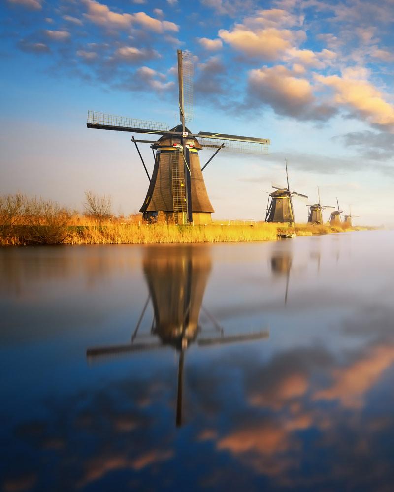 Old windmills in Kinderdijk