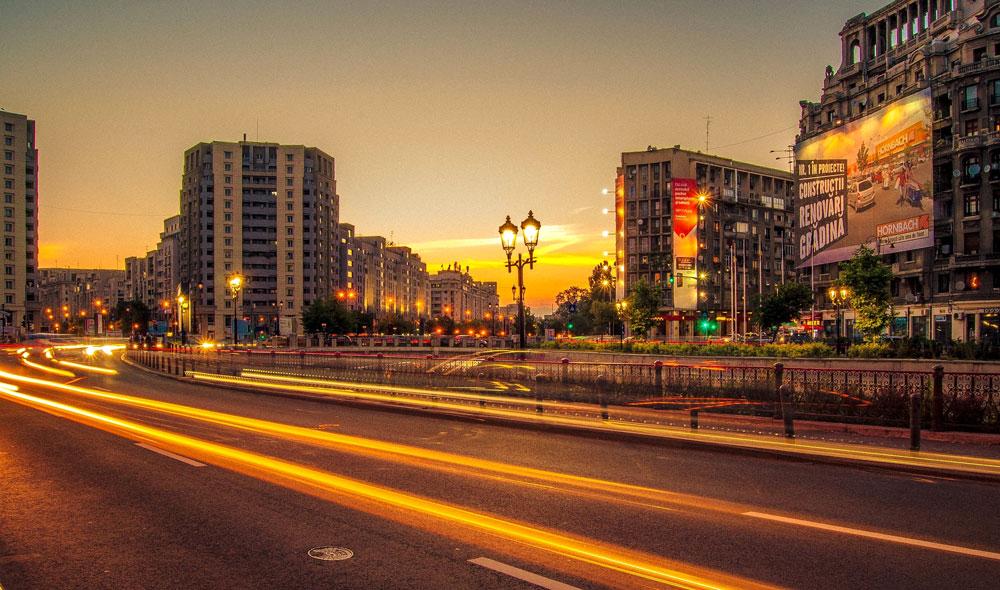 The city at dusk