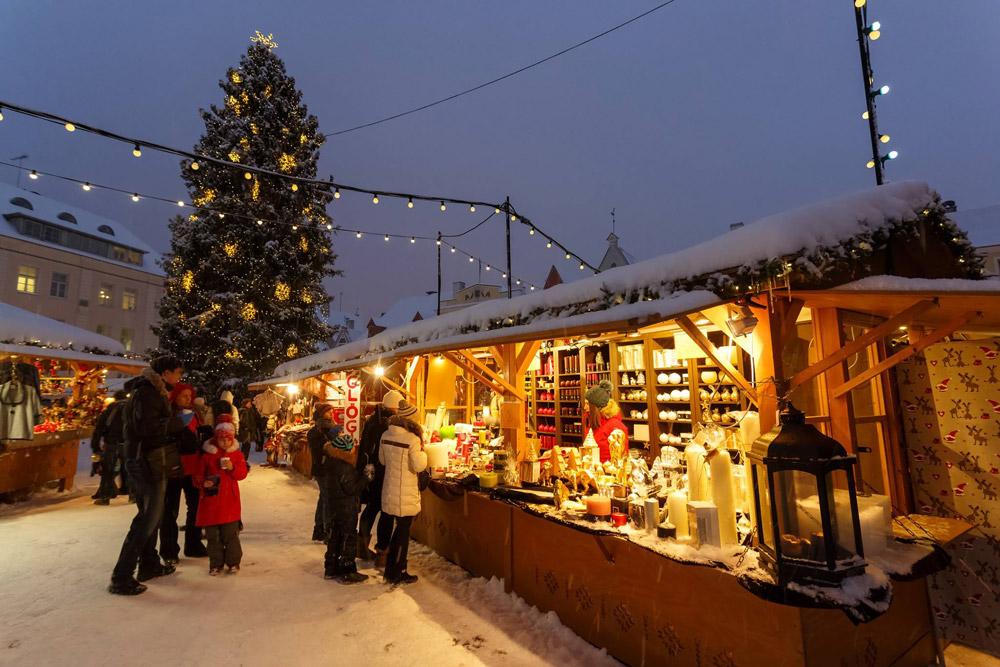 Stalls in Tallinn Christmas Market
