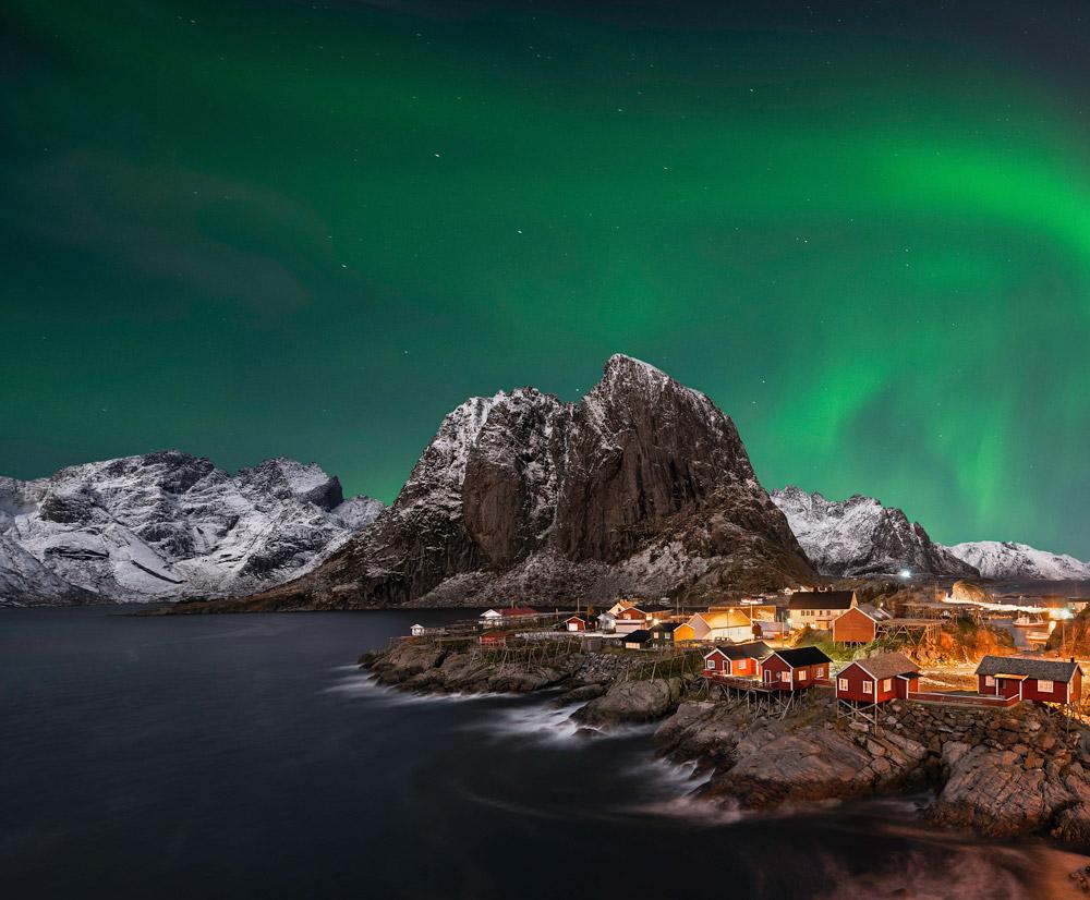 Northern lights above Lofoten Islands