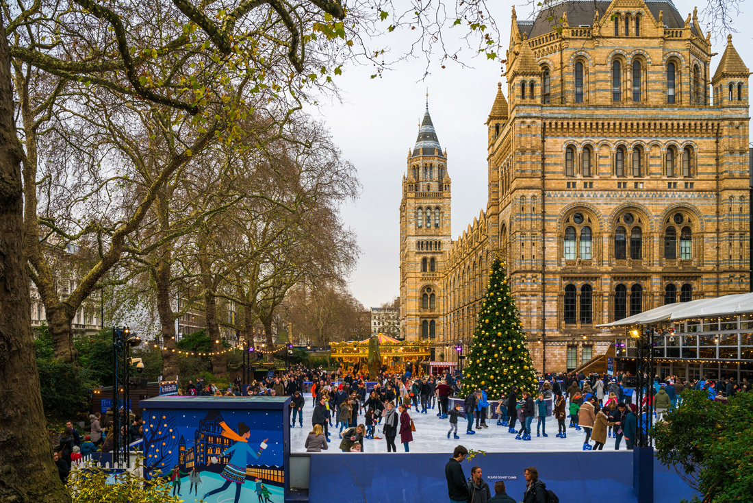 Ice rink and Christmas tree in London