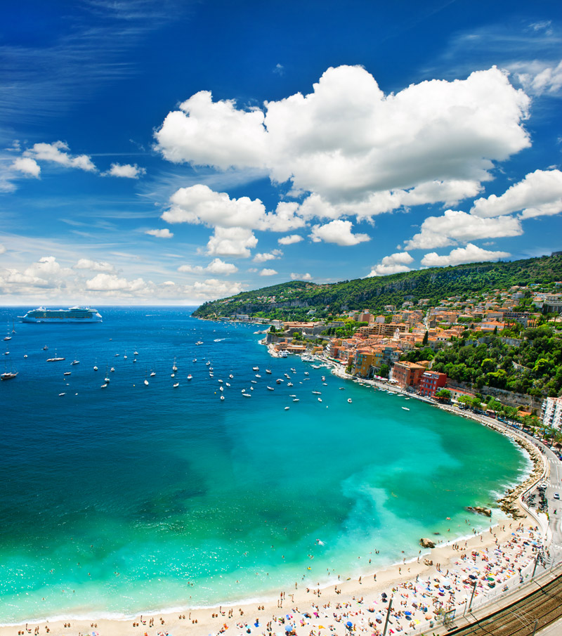 Beach and yachts on the French Riviera