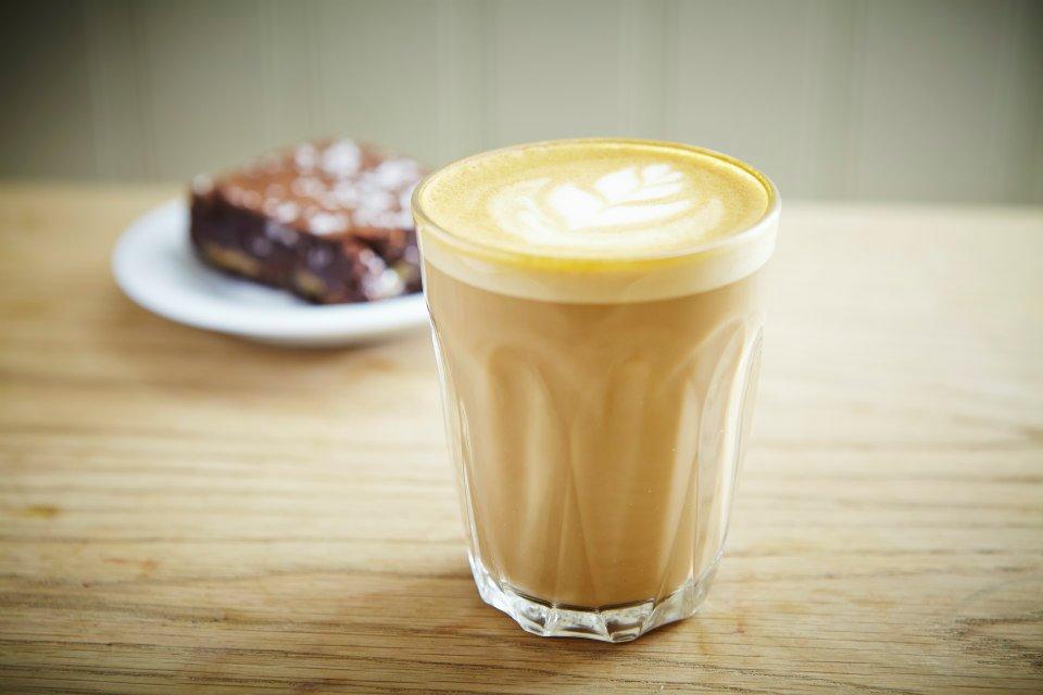 Caramel brownie with espresso