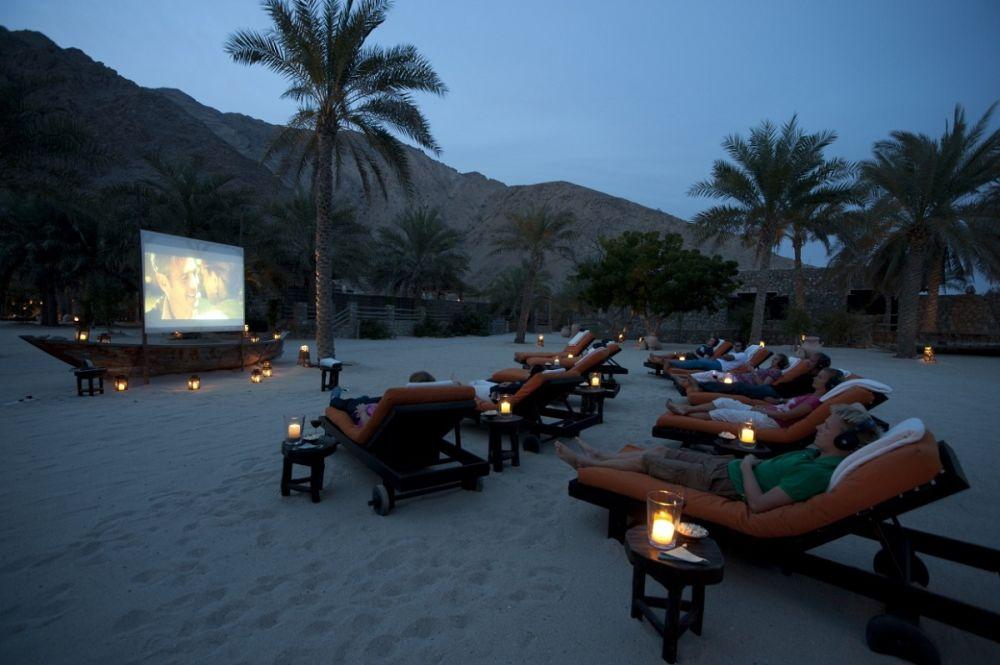 Outdoor beach cinema