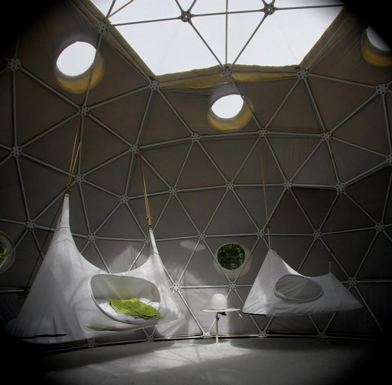 Dome with suspended tents