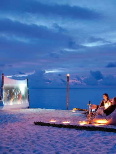 Open-air beach cinema