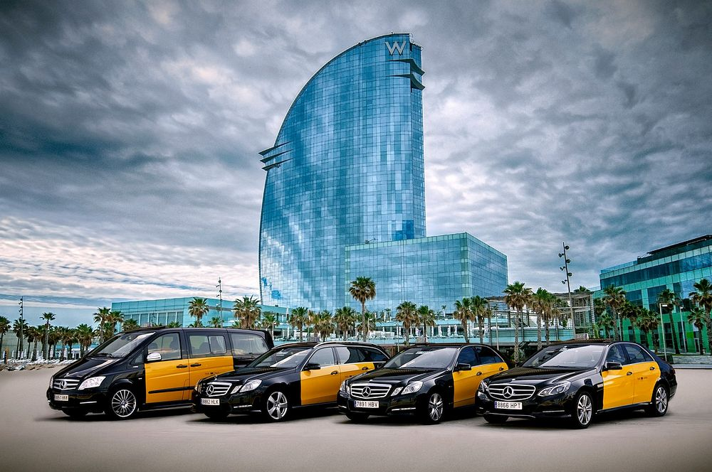 Yellow and Black Taxis in Barcelona