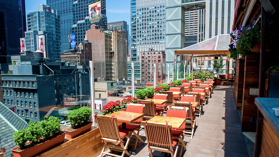 Rooftop bar in Times Square