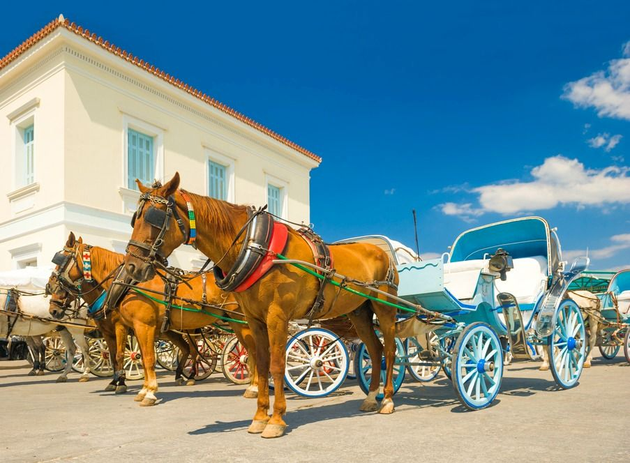 Horse drawn taxis on Spetses Island