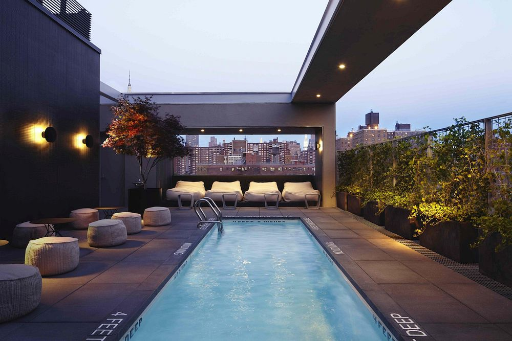 Rooftop pool and bar in New York