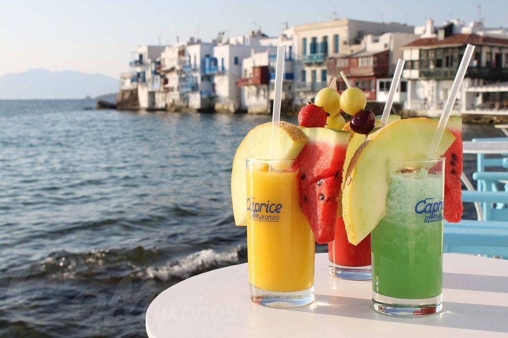 Sunset cocktails in Mykonos