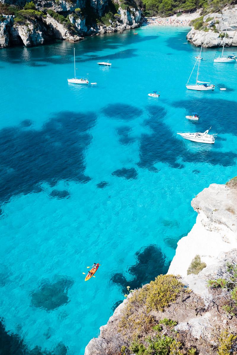Clear waters in Menorca