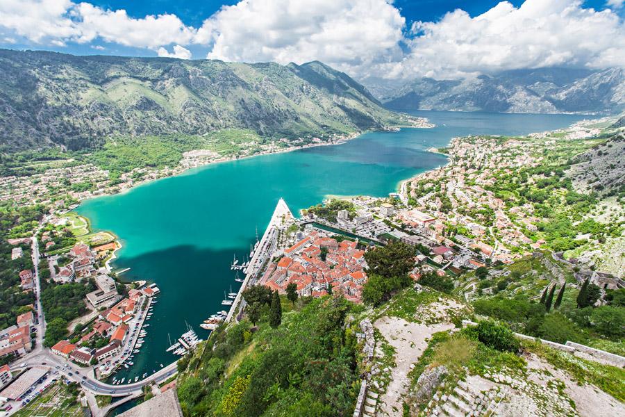 Aerial view of Kotor Bay