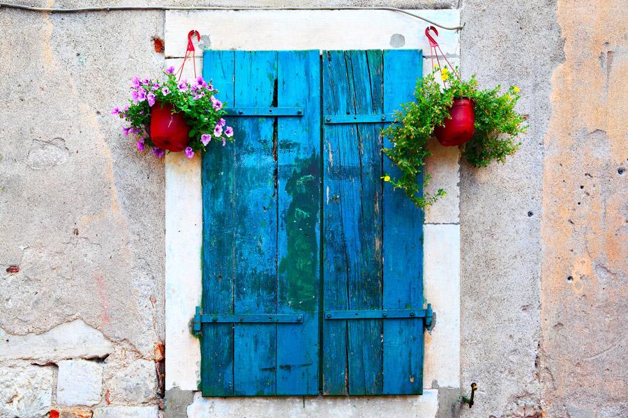 Old blue windows