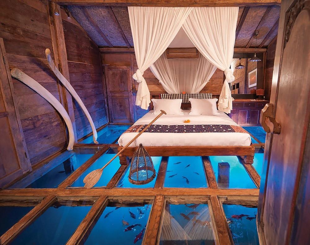 Bedroom with glass floor
