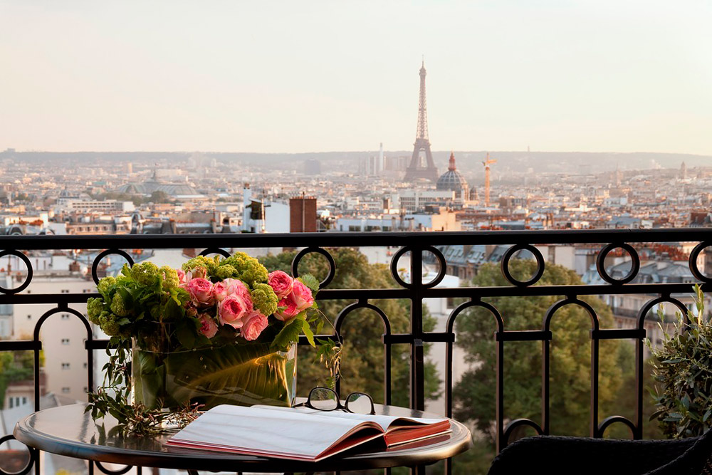 Hotel room with Eiffel Tower views