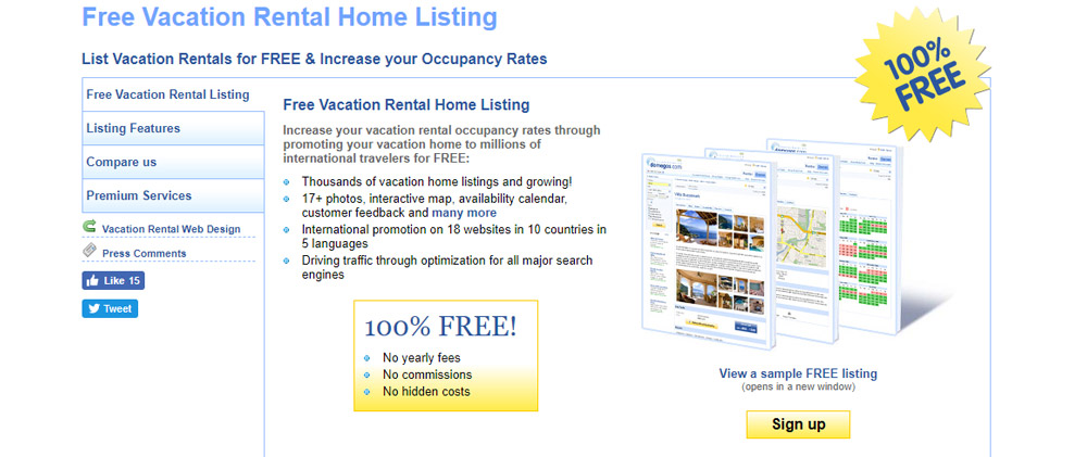 List vacation rental for free
