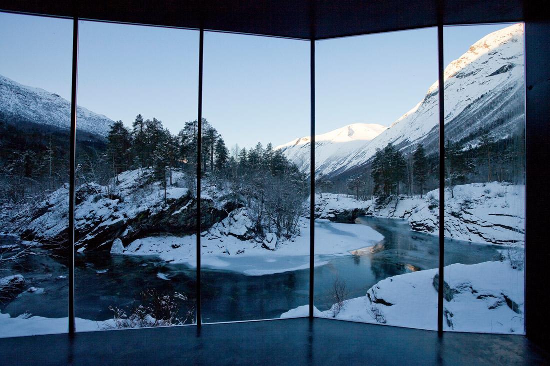 Sauna with glass wall