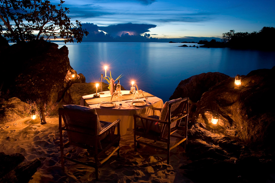 Dinner on the shore of Lake Malawi