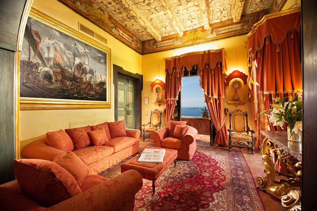 Living room with antiques