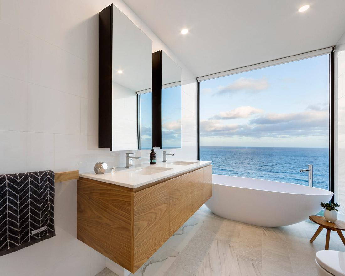 Bathroom with ocean views