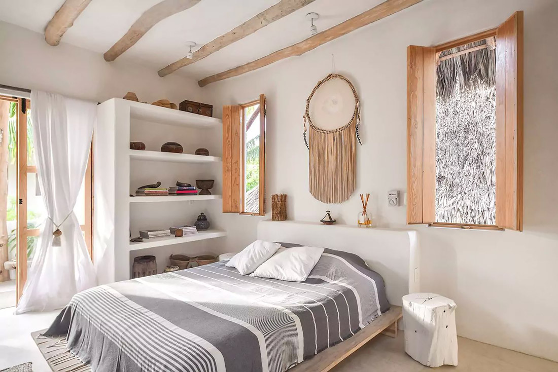 Rustic bedroom with exposed beams