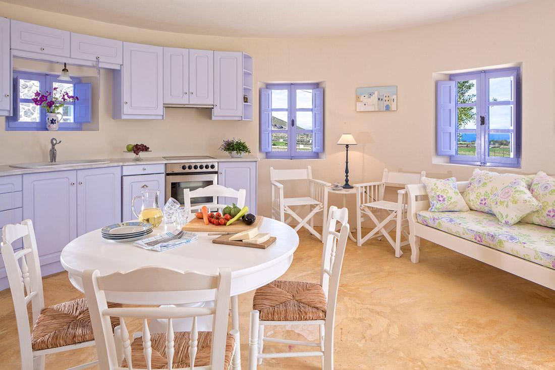 Kitchen with purple furniture