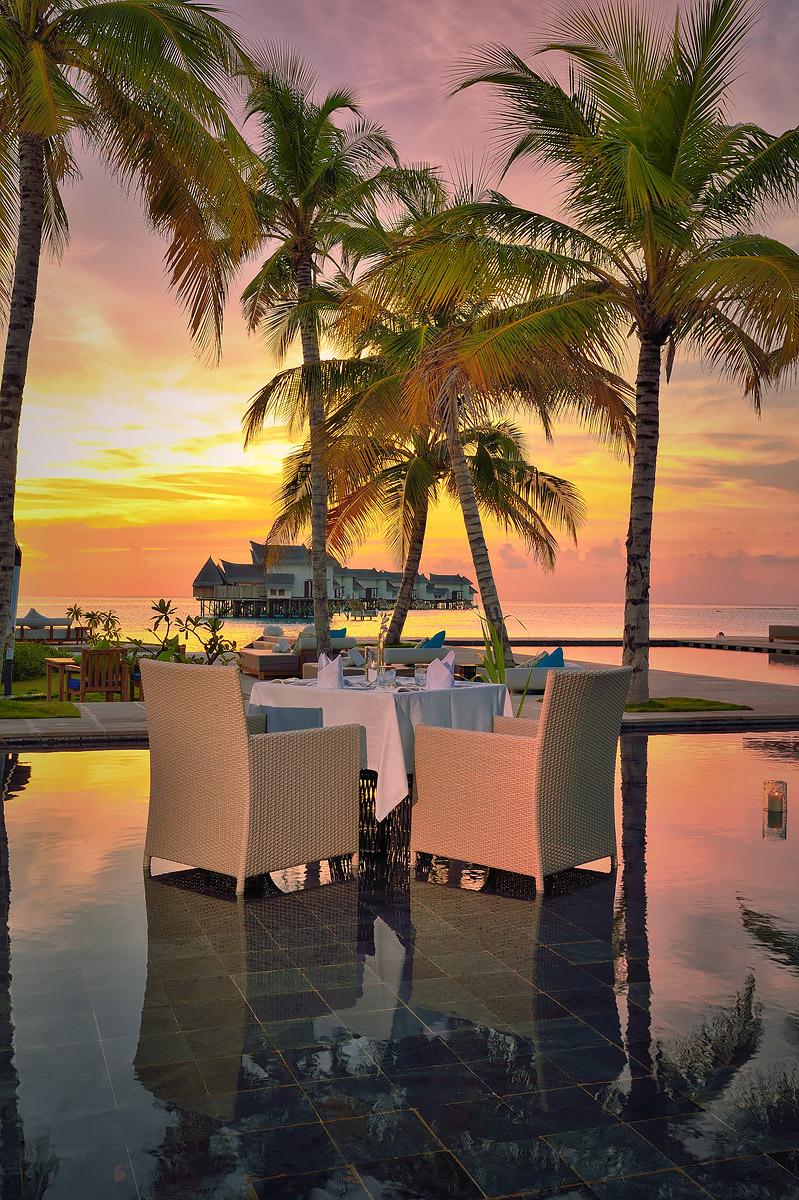 Pool dinner at sunset