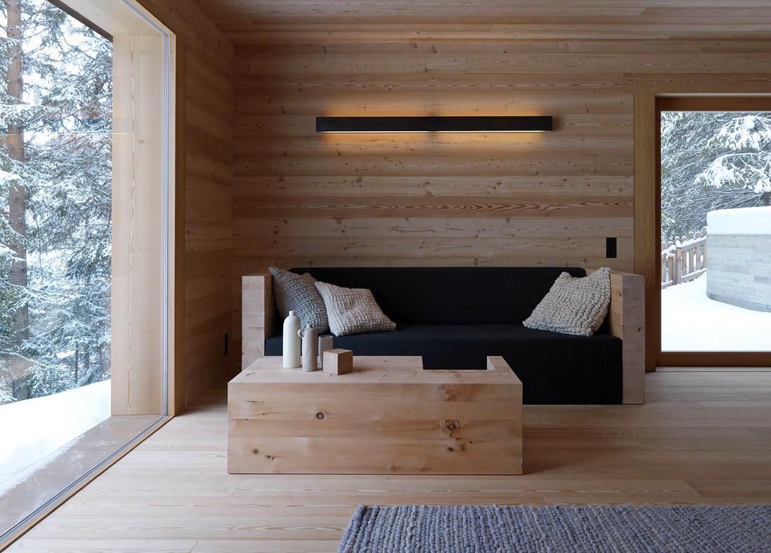 Minimalist living room made of wood