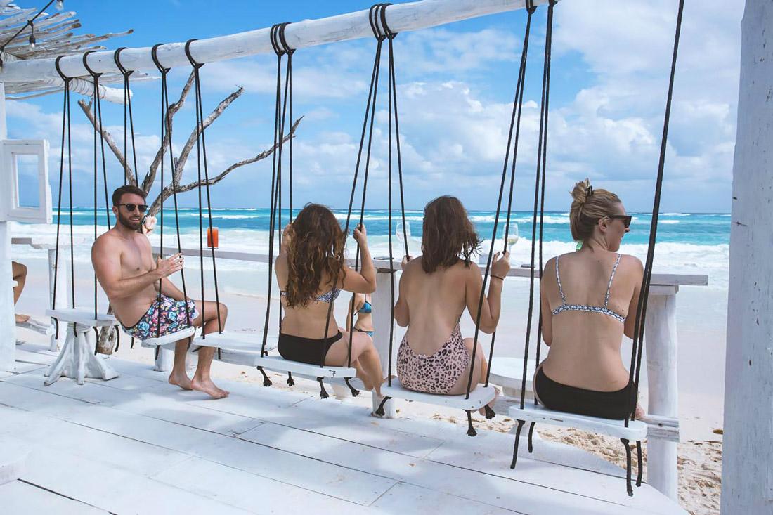 Beach bar with swings