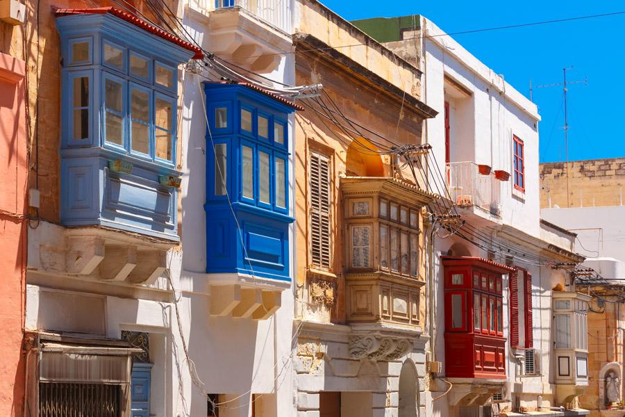 Colorful wood balconies