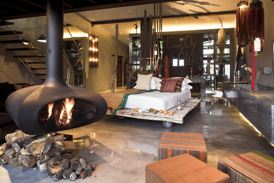 Romantic room with fireplace