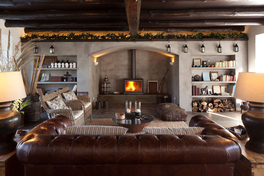 Beautiful living room with open fire