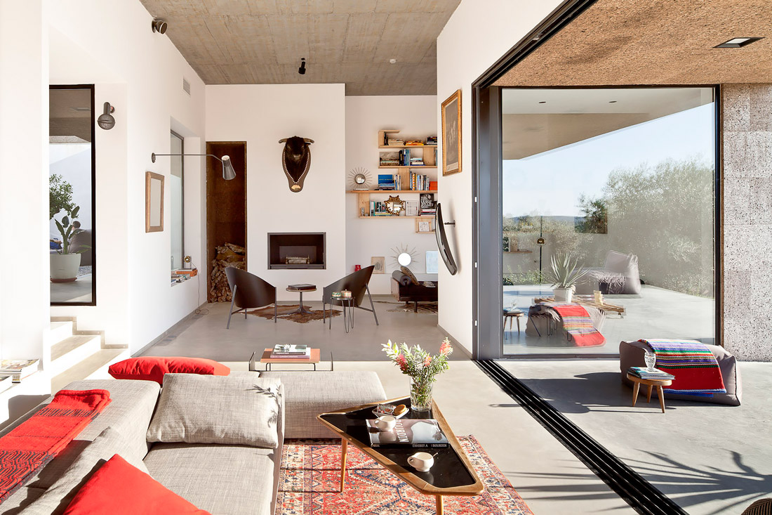Bright living room with glass wall