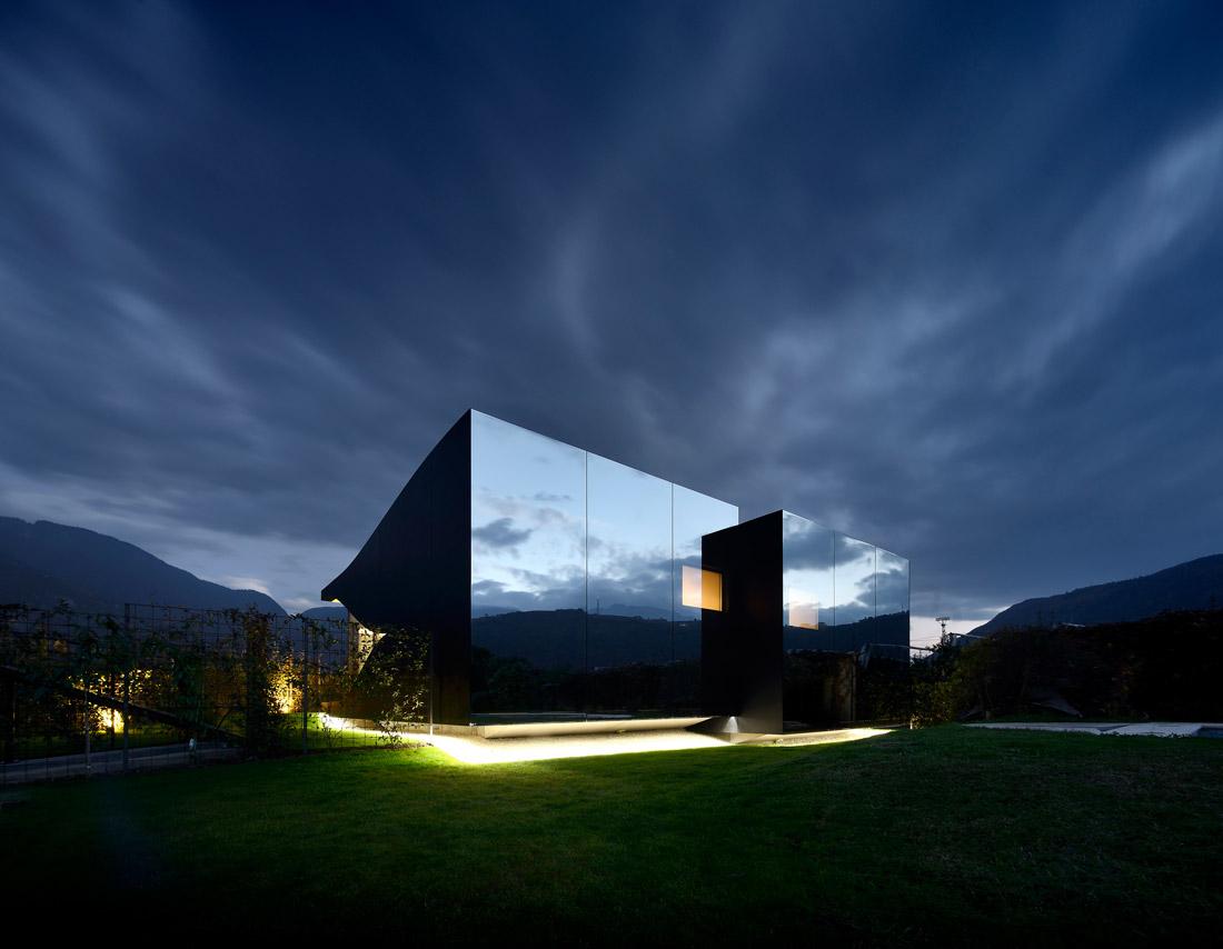 Mirrored glass façade