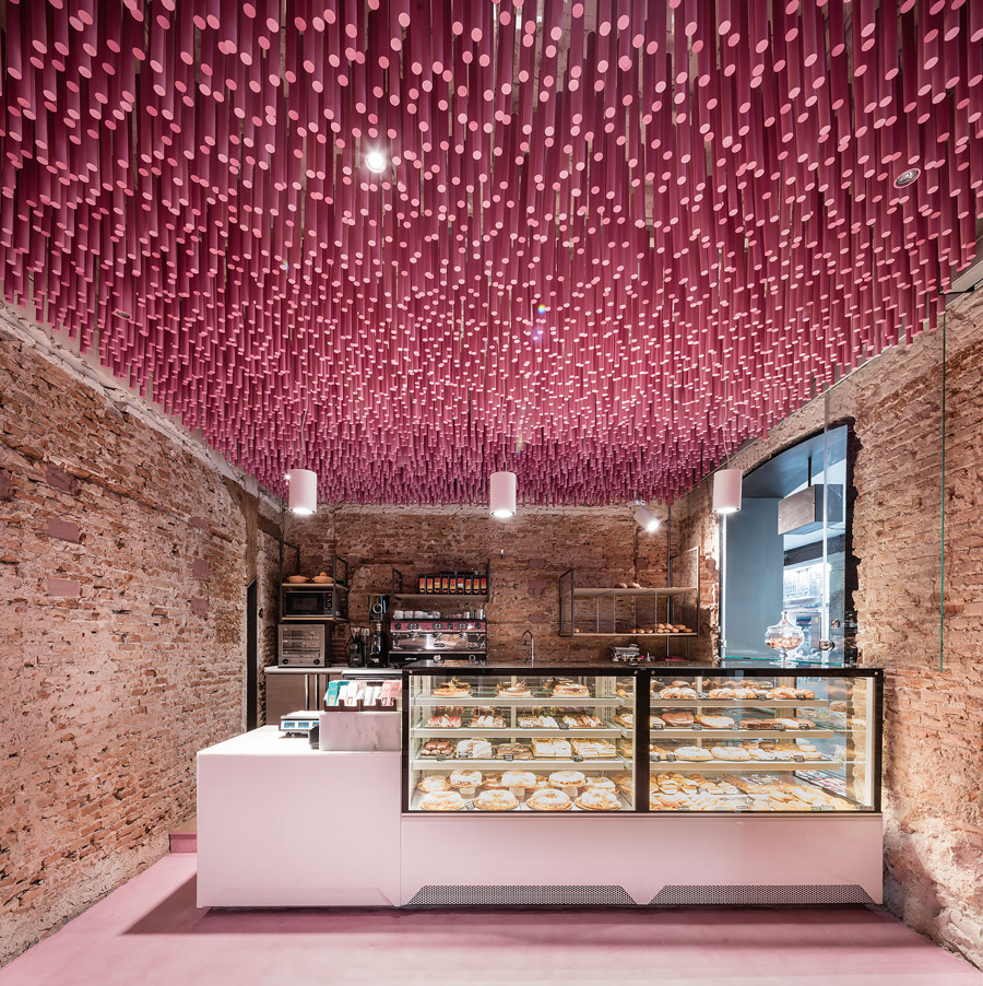 Pink bakery in Spain