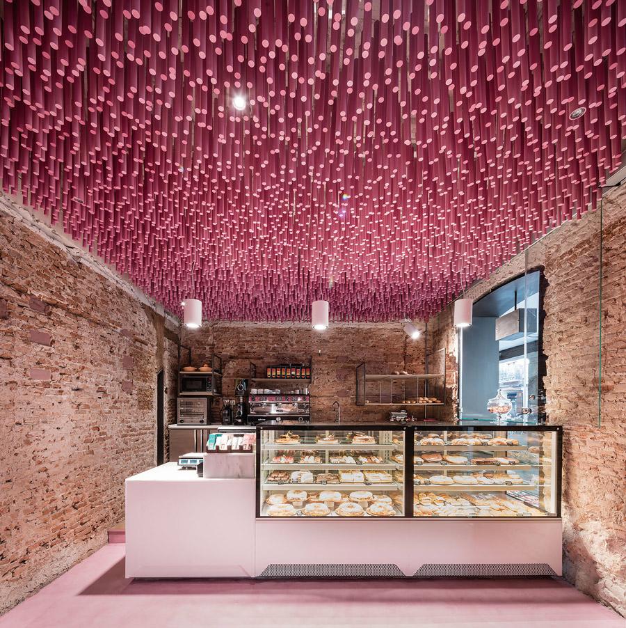 Pink bakery in Spain