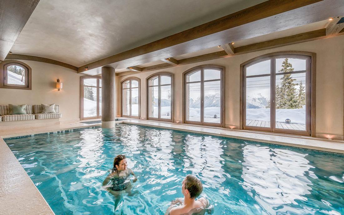 Indoor pool overlooking the Alps