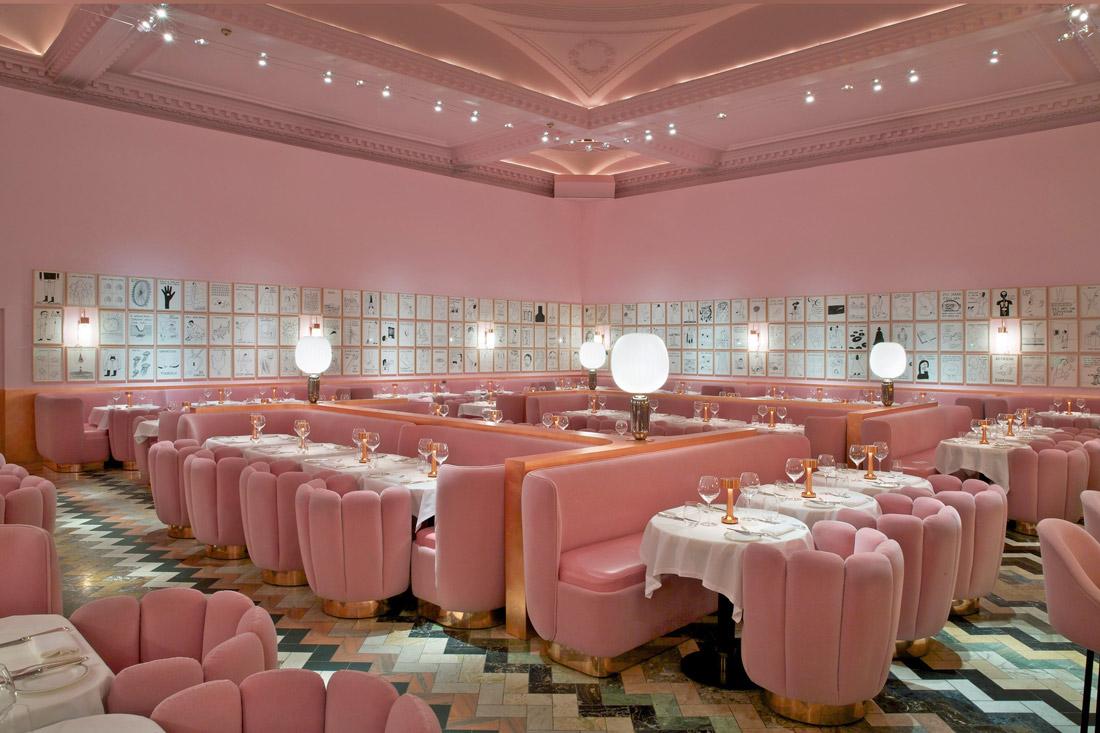 Pink velvet banquettes