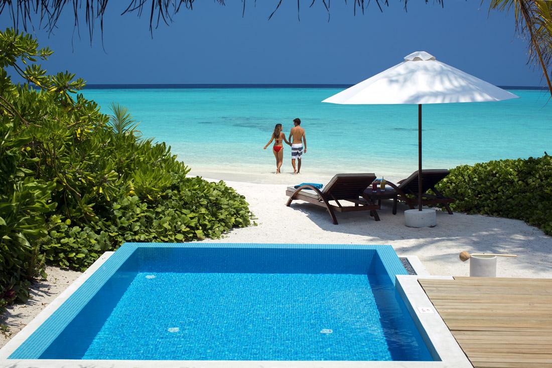Velassaru beach villa with pool
