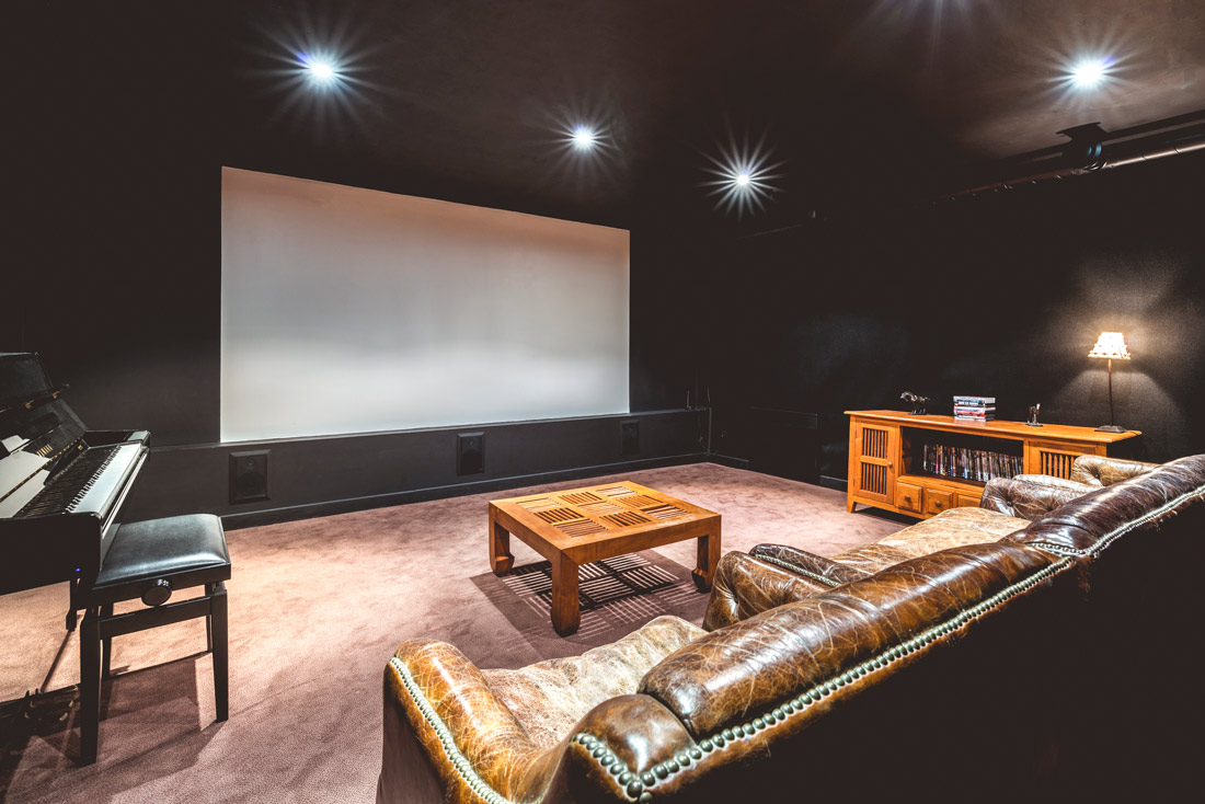 Cinema room with leather chairs