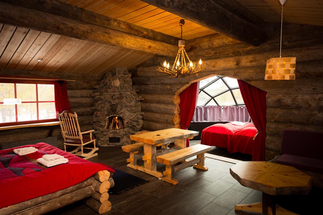 Log cabin with igloo