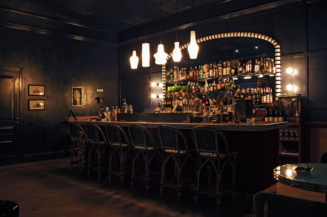 Marble topped bar