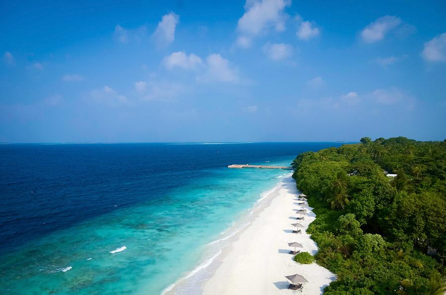 Island with white sand beach