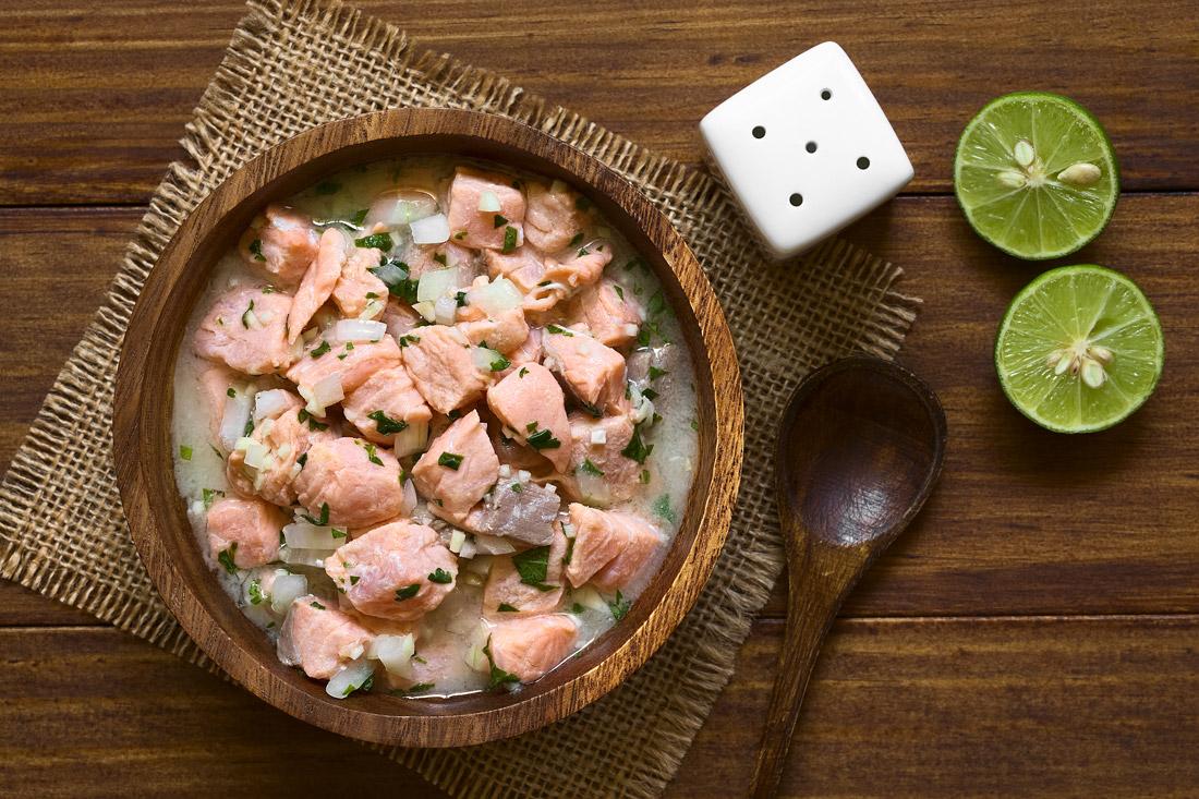 Chilean salmon ceviche