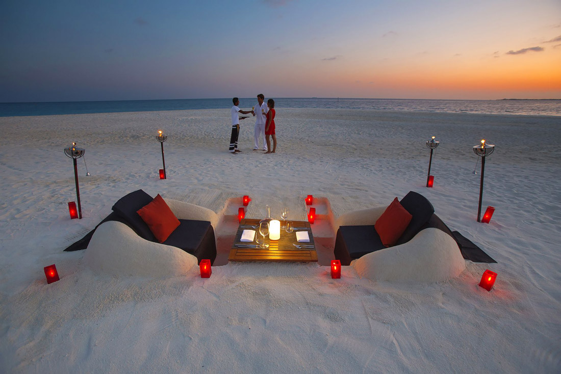 Beach pit dinner in the Maldives