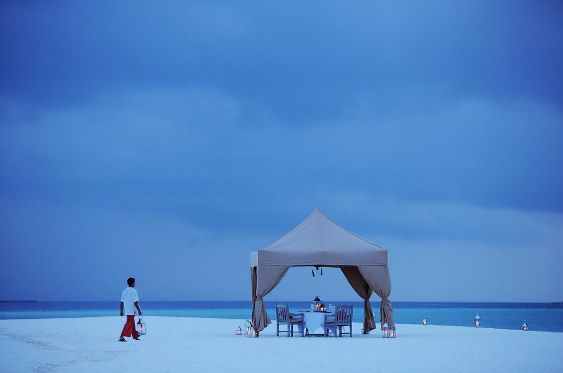 Tented beach dinner